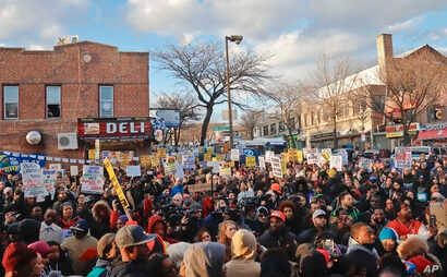 Hundreds rally for a march to the 71st Precinct on Empire Boulevard, April 5, 2018, in the Crown Heights neighborhood of Brooklyn, in New York, to protest the fatal police shooting of Saheed Vassell, a 34-year-old welder and father of a teenage son w...