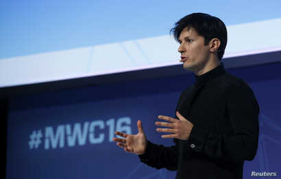 Founder and CEO of Telegram Pavel Durov delivers a keynote speech during the Mobile World Congress in Barcelona, Spain Feb. 23, 2016.