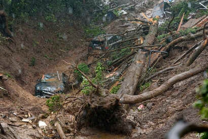 Cars and a large tree are seen in a debris trail in the aftermath of a mudslide that destroyed three homes on a hillside in Sausalito, Calif., Feb. 14, 2019.