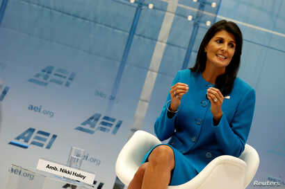 U.S. Ambassador to the United Nations Nikki Haley speaks about the Iran nuclear deal at the American Enterprise Institute in Washington,  Sept. 5, 2017.