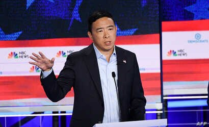 Democratic presidential hopeful U.S. entrepreneur Andrew Yang speaks in the second Democratic primary debate of the 2020 presidential campaign at the Adrienne Arsht Center for the Performing Arts in Miami,, June 27, 2019.