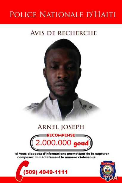Wanted poster issued by Haiti's National Police force, PNH for alleged gang leader Arnel Joseph.