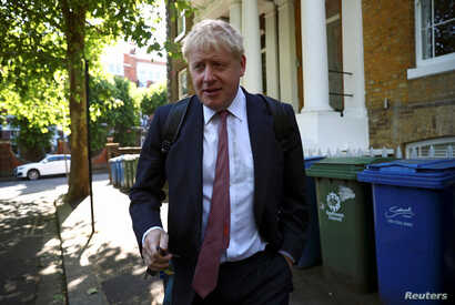 Former British Foreign Secretary Boris Johnson, who is running to succeed Theresa May as Prime Minister, leaves his home in London, Britain, May 30, 2019.