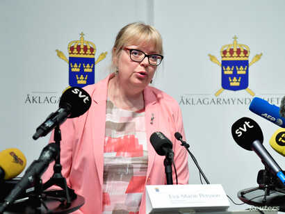Swedish Vice Chief Prosecutor Eva-Marie Persson announces that the prosecutor will re-open the preliminary investigation against Julian Assange, who is accused of rape and sexual harassment of two women in 2010, at a news conference in Stockholm, May...