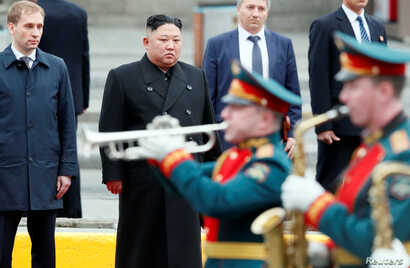 North Korean leader Kim Jong Un attends a welcome ceremony as he arrives at the railway station in the Russian far-eastern city of Vladivostok, Russia, April 24, 2019.