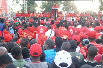 Malawi Vice President Saulos Chilima addresses a campaign rally in Blantyre, Malawi. He one of the top three contenders in the May 21 election, which observers say is too difficult to predict.