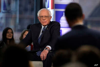 Sen. Bernie Sanders listens to a question from an audience member during a Fox News town-hall style event, April 15, 2019, in Bethlehem, Pennsylvania.