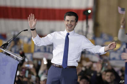 South Bend Mayor Pete Buttigieg announces that he will seek the Democratic presidential nomination during a rally, Sunday, April 14, 2019, in South Bend, Ind.