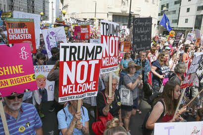 Protestors turn out to protest against Donald Trump during his visit to London, England, July 13, 2018.