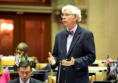 Assemblyman Andy Goodell, R-Jamestown, speaks to members of the New York state Assembly against legislation that authorizes state tax officials to release, if requested, individual New York state tax returns to Congress.