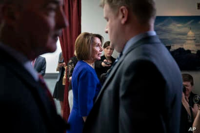 Speaker of the House Nancy Pelosi, D-Calif., speaks to reporters as she departs after meeting with all the House Democrats, many calling for impeachment proceedings against President Donald Trump after his latest defiance of Congress by blocking his ...
