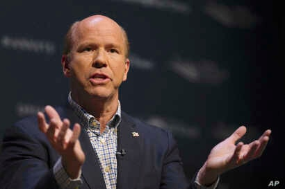 Democratic presidential candidate and former Rep. John Delaney, D-Md., speaks at the Heartland Forum held on the campus of Buena Vista University in Storm Lake, Iowa, March 30, 2019.
