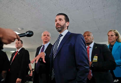 Donald Trump Jr., the son of President Donald Trump, stops to speak to members of the media after having met privately with members of the Senate Intelligence Committee on Capitol Hill, Washington, June 12, 2019.