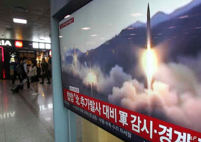 A TV screen shows file footage of North Korea's missile launch during a news program at the Seoul Railway Station in Seoul, South Korea, May 4, 2019.