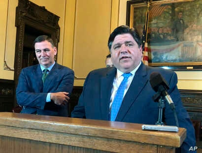 Gov. J.B. Pritzker announces that applications to grow industrial hemp in Illinois for the first time in 80 years are available online, at a news conference April 30, 2019, in Springfield, Ill. The governor said May 4, 2019, that he's reached an agre...