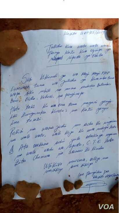 A letter warns against collaborating with Ebola responders or treatment centers in the Democratic Republic of Congo. Copies of the letter, allegedly written by a Mai-Mai fighter, appeared on the street in Butembo and in other communities in the regio...