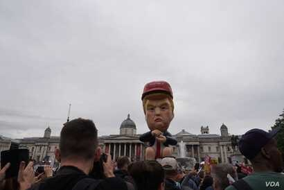 One of two Trump effigies protesters created to express their opposition to the U.S. leader, in London, June 4, 2019.