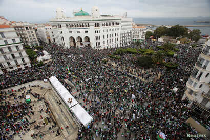 Masses return to the streets to press demands for democratic change in Algiers, Algeria, April 19, 2019.