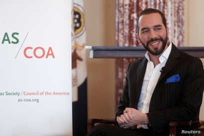 FILE - El Salvador President-elect Nayib Bukele takes questions during a keynote interview at the U.S. State Department in Washington, May 7, 2019.