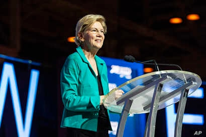 Democratic presidential candidate, Sen. Elizabeth Warren, D-Mass., speaks at the 2019 Essence Festival at the Ernest N. Morial Convention Center, July 6, 2019, in New Orleans.