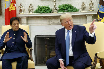 President Donald Trump speaks during a meeting with Pakistani Prime Minister Imran Khan in the Oval Office of the White House, Monday, July 22, 2019, in Washington.