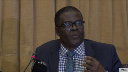 Fortune Chasi, Zimbabwe's energy minister, was dispatched from Harare to negotiate with Mozambique and South Africa to provide more electricity to the southern African nation, July 2019. (Columbus Mavhunga/VOA)