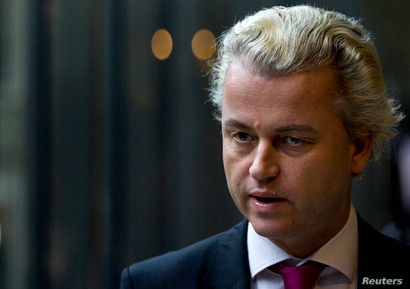 FILE - Dutch anti-Islam politician Geert Wilders answers questions during an interview with Reuters in the Hague, Netherlands.
