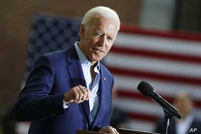 Democratic presidential candidate former Vice President Joe Biden speaks during a campaign event at Keene State College in Keene, N.H., Aug. 24, 2019.
