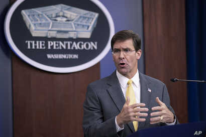 U.S. Secretary of Defense Mark Esper speaks to reporters during a briefing at the Pentagon, Aug. 28, 2019.