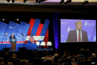 President Donald Trump speaks at the 2019 House Republican Conference Member Retreat Dinner in Baltimore, Sept. 12, 2019.