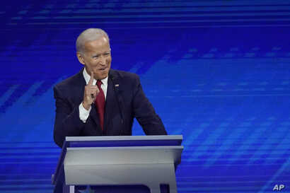 FILE - Former Vice President Joe Biden responds to a question during a Democratic presidential primary debate hosted by ABC at Texas Southern University in Houston, Sept. 12, 2019.