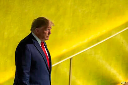 U.S. President Donald Trump arrives to address the 74th session of the United Nations General Assembly at U.N. headquarters, Sept. 24, 2019.