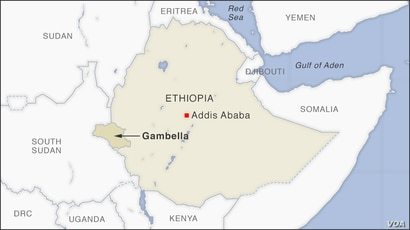 Map of Gambella Ethiopia