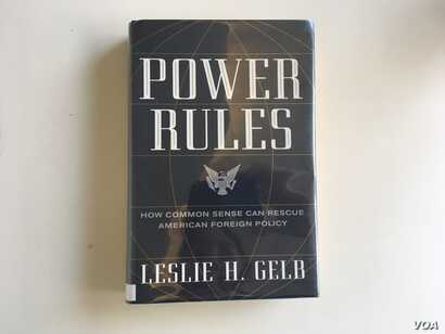 Cover of Power Rules, written by Leslie Gelb. (VOA/N. Liu)