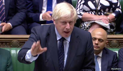 Britain's Prime Minister Boris Johnson speaks in in the Parliament in London, Britain, Sept. 3, 2019, in this still image taken from Parliament TV footage.