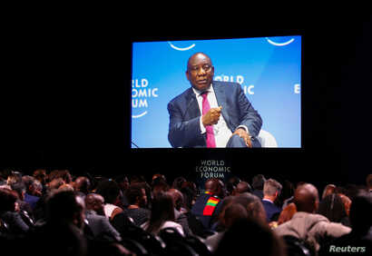 South Africa's President Cyril Ramaphosa speaks during a session of the World Economic Forum on Africa in Cape Town, South Africa, Sept. 5, 2019.