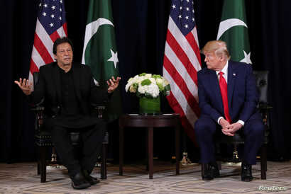 U.S. President Donald Trump holds a bilateral meeting with Pakistan's Prime Minister Imran Khan on the sidelines of the annual United Nations General Assembly meeting in New York City, Sept. 23, 2019.