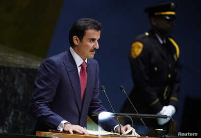 Qatar's Emir Sheikh Tamim bin Hamad al-Thani addresses the 74th session of the United Nations General Assembly at U.N. headquarters in New York City, New York, Sept. 24, 2019.