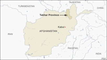 Map of Takhar Province, Afghanistan