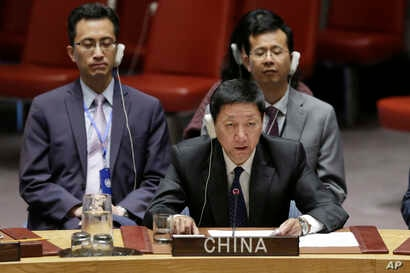 China's Deputy Permanent Representative Wu Haitao addresses the United Nations Security Council, Aug. 29, 2018, at U.N. headquarters.