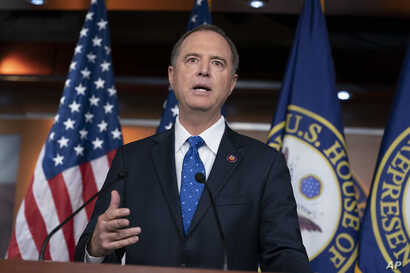 House Intelligence Committee Chairman Adam Schiff, D-Calif., talks to reporters about a transcript of a call between President Donald Trump and Ukrainian President Voldymyr Zelenskiy, at the Capitol in Washington, Sept. 25, 2019.
