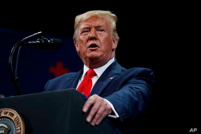 President Donald Trump delivers remarks at the Sharon L. Morse Performing Arts Center in The Villages, Florida, Oct. 3, 2019.