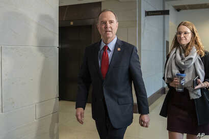 Rep. Adam Schiff, Chairman of the House Intelligence Committee arrives for a joint committee deposition with Ambassador Gordon Sondland, with the transcript to be part of the impeachment inquiry into President Donald Trump, on Capitol Hill, Oct. 8, 2019.