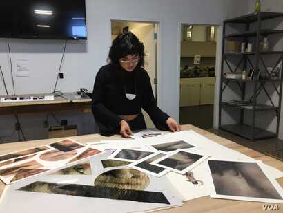 Dolores Scarlett Cortez hopes to eventually use her talents in printmaking and photography as an art therapist to help members of her indigenous community, Santa Fe, N.M., Oct. 9, 2019. Julie Taboh/VOA