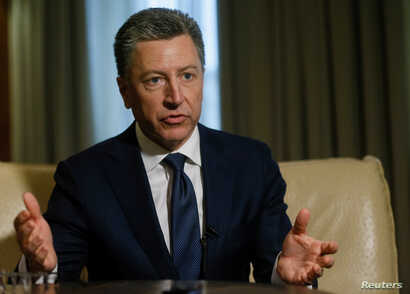 Kurt Volker, former U.S. Special Representative for Ukraine Negotiations, gestures during an interview with Reuters in Kyiv, Oct. 28, 2017.