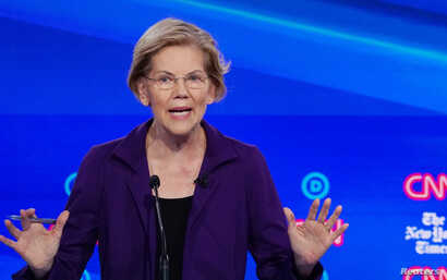 Democratic presidential candidate Senator Elizabeth Warren speaks during the fourth U.S. Democratic presidential candidates…