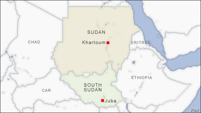 Map showing Khartoum, Sudan and Juba, South Sudan