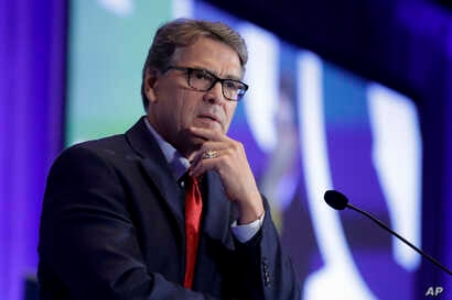 U.S. Energy Secretary Rick Perry speaks at the California GOP fall convention, Sept. 6, 2019, in Indian Wells, California.