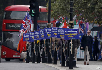 Brexit opponents display their posters in front of Parliament in London, Oct. 23, 2019.