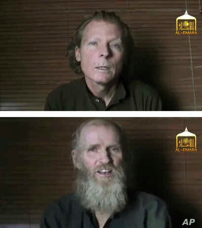 FILE -  A photo combination if images taken from video released June 21, 2017, by Taliban spokesman Zabihullah Mujahid, shows kidnapped Australian Timothy Weeks, top, and American Kevin King.
